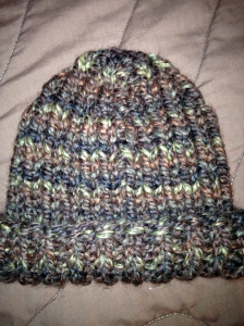 Improvised 1x1 rib watchman style cap in Lion Brand Wool-Ease Thick & Quick
