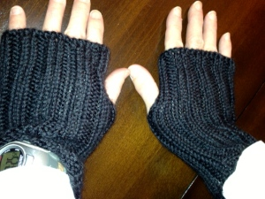 Improvised simple ribbed mitts in Caron Simply Soft