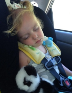 Of course the only picture I managed to get of M and the panda was on the drive home... worn out!