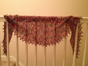 """Zombie Teeth"" shawl knit out of GnomeAcres ""I Dream of Zombies"" colorway."