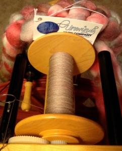 Unwind Yarn Co - Polwarth/Silk Blend in the Ghoulish colorway.
