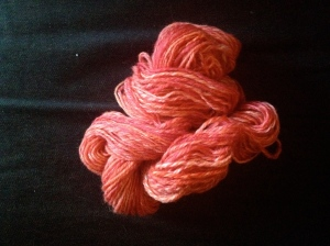 138 yards spun from punis by Unwind Yarn Company